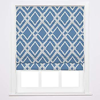 Roman Shade for Windows Custom Fabric Window Blinds with Grey Blue Printed Easy Replace Drapiftyex