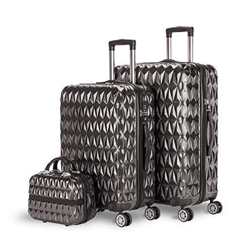 NEWTECK - Juegos de Maletas de 4 Ruedas Prisma Carbon 2pzs (55/65cm) + Neceser, ABS+Policarbonato, Cierre TSA Integrado y Práctico Interior. Set de Maletas de Viaje Rígidas, Resistentes y Ligeras