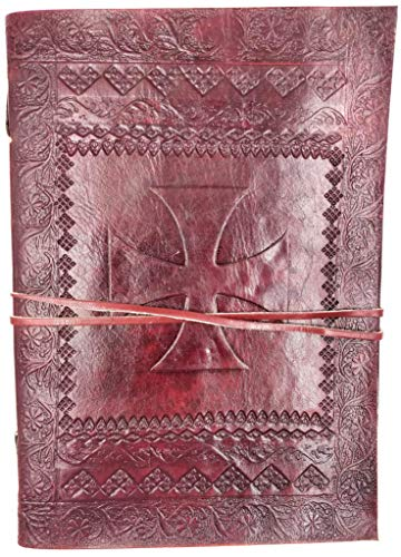 Kooly Zen – Cuaderno de notas, diario, libro, piel auténtica, vintage, cruz de los templarios, 18 x 25 cm, 240 páginas, papel premium