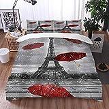 Bedding Juego de Funda de Edredón -Vintage Francia Torre Eiffel París Lloviendo Ciudad Europea Paraguas Rojo Moderno Paisaje Ne/Microfibra Funda de Nórdico (Cama 220 x 240 cm + Almohada 50X80 cm)