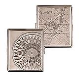SMOKERTOOLS - Pitillera de Metal con Soporte, diseño de Mapa y Rosa de los Vientos del Siglo XVIII