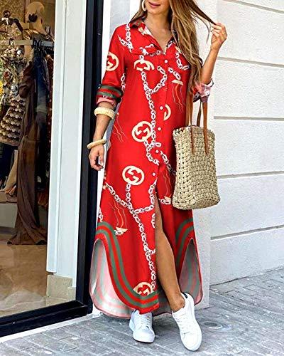 Vestido de Mujer Moda para Mujer Casual Camuflaje Suelto Floral Sexy Manga Larga Bolsillo Botón Camisa Vestido Estampado