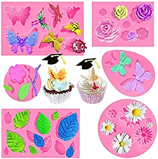6Pack Silicon Fondant Molds for Chocolate, Mini Daisy Flower Butterfly Leaf Rose Shape Silicon Molds for Cake Pop Lollipop...