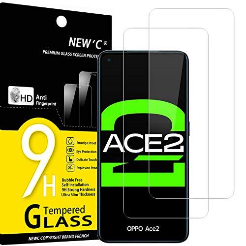 NEW'C 2 Unidades, Protector de Pantalla para OPPO Ace 2, OPPO A52, Antiarañazos, Antihuellas, Sin Burbujas, Dureza 9H, 0.33 mm Ultra Transparente, Vidrio Templado Ultra Resistente