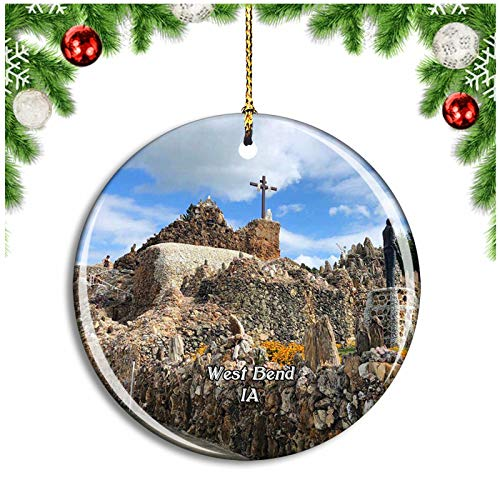 West Bend Grotto Iowa USA Christmas Ornament Xmas Tree Decoration Hanging Pendant Travel Souvenir Collection Double Sided Porcelain 2.85 Inch