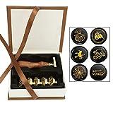 Mangsen Siegelwachs-Stempel-Set, 6-teilig, Holzgriff mit