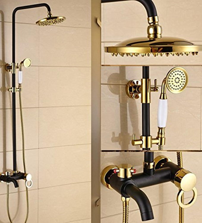 Luxurious shower Gold Farbe Messing & Schwarzes l eingerieben Bronze Badezimmer Regendusche Hahn eingestellt ist, um einen Griff Mixer mit Handbrause Crs910, Schwarz Tippen