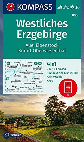 Westliches Erzgebirge, Aue, Eibenstock, Kurort Oberwiesenthal 1:50 000: 4in1 Wanderkarte 1:50000 mit Aktiv Guide und Detailkarten inklusive Karte zur ... Fahrradfahren. Langlaufen. Reiten.: 806