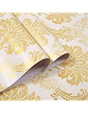 Wolpin Wall Stickers DIY Wallpaper (45 x 500 cm) Floral Damask Self Adhesive, Living Room, Hall, Sofa Background Decal, Gold