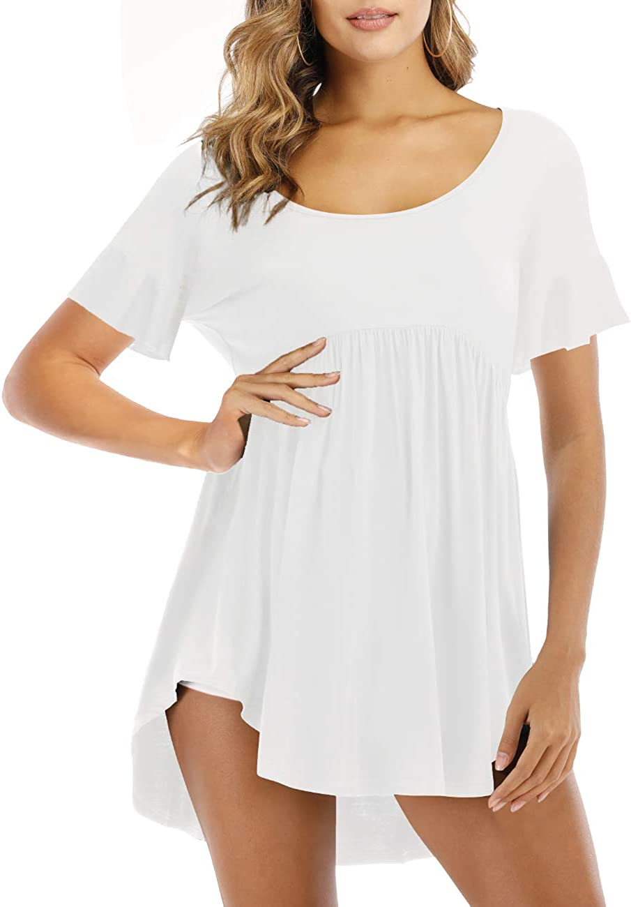 Heftxall Womens Casual Tunic Tops Long/Short Sleeve Scoop Neck T Shirt Flowy Hem Blouse