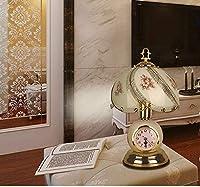 レトロガラステーブルランプセラミックランプ寝室の壁時計タッチテーブルランプ