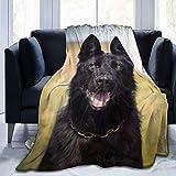 Manta de forro polar ultra suave, imágenes de perro pastor alemán negro, decoración del hogar manta cálida para sofá o cama, 80 x 152 cm