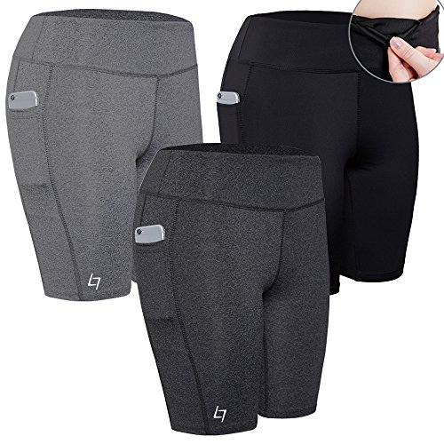 FITTIN Women's Sports Shorts Activewear for Active Fitness Pocket Yoga Running Workout Gym Running Leggings 3-Pack M