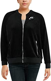 Women's Velour Fitness Running Track Jacket Outerwear AV3022 (X-Small, Black)