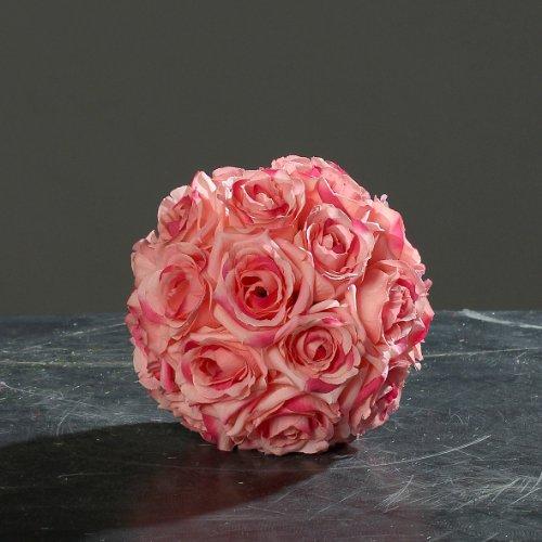Rosenkugel Blütenkugel Kunstblüten Dekokugel Rosen Kugel Ø16 cm pink