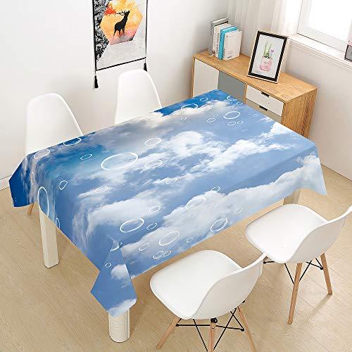 Chickwin Mantel para Mesa Rectangular para Cocina Salón Comedor, Mantel con Estampado Nube de Ensueño 3D, Impermeable y Antimanchas Mantel Interiores Exteriores (Burbuja,140x160cm)