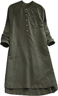 MyMei レディース 綿麻 ウェア ワンピース チュニック Tシャツ ロング丈 7分袖 無地 ゆったり 体型カバー 膝丈 カジュアル 春秋