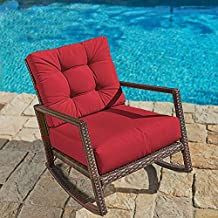Crownland Outdoor Patio Rocking Chair Wicker Chair with Thick Cushion Rocking Bistro for Backyard Balcony Garden Pool, Red
