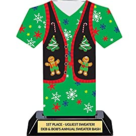 """Ugly Christmas Sweater Trophy - Tacky Sweater Party Award 1 Having an Ugly Christmas Sweater party? Or a decorating contest? Gingerbread house building competition? This is the perfect Christmas trophy for your event! CUSTOMIZATION: Click on Customize Now for your 4 Lines of FREE personalization! If you do not want your trophy engraved, simply put """"No Engraving"""" in line 1. We will send your plate separately with the trophy. LASER-ENGRAVED: 7 inch tall trophy with a professionally laser-engraved and polished gold plate."""