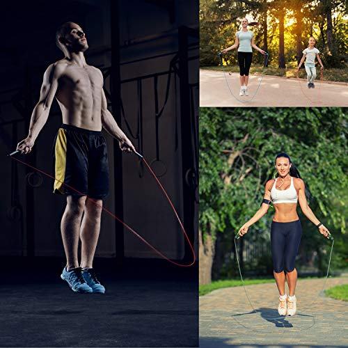 VOXLOVA Jump Rope - Tangle-Free Skipping Rope with Ball Bearings, Adjustable Wire Cable, Memory Foam Handles, Speed Jumping Rope for Workouts Cardio Fitness Crossfit Boxing Gym Exercise