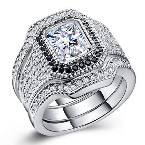 BQZB Ring Mode Schmuck Gold Farbe Zirkon Kupfer Ringe für Frauen Engagement & Hochzeitsanzug Ring