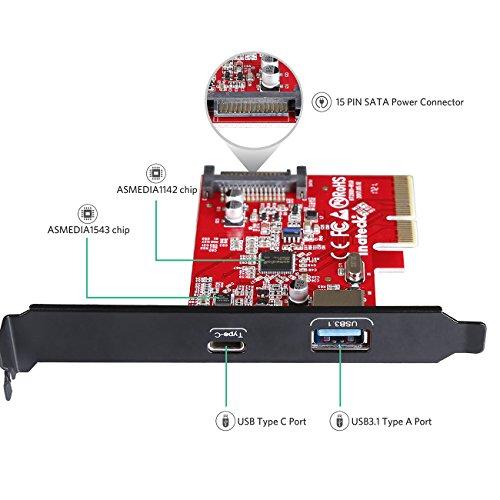 Inateck PCIe USB 3.1 Karte, PCIe auf USB C und USB A Ports, 10Gbps