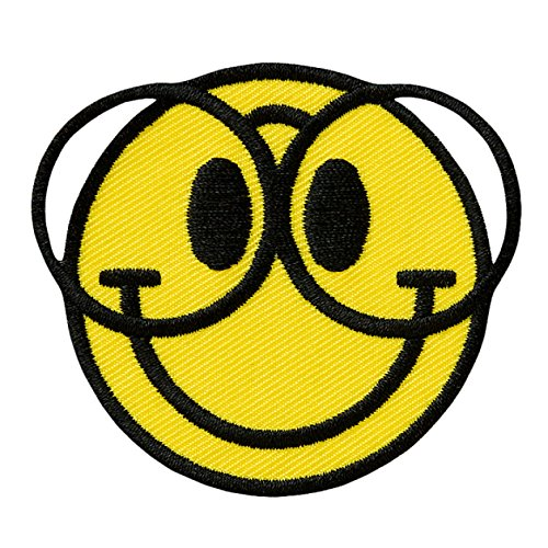 SMILEY mit Brille / with glasses - Aufnäher Aufbügler Applikation Patch - ca. 6,5 x 5,5 cm