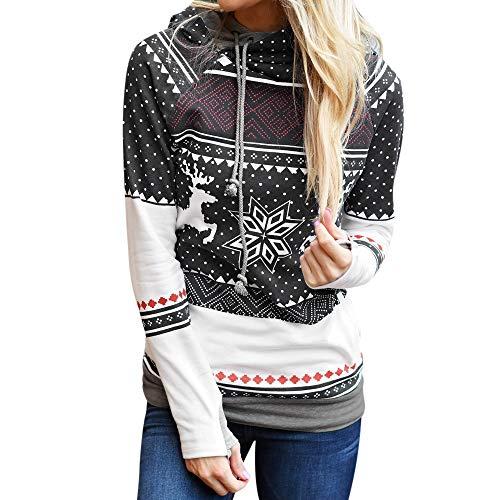 Auiyut Hoodie Damen Sweatshirt Weihnachten Kapuzenpullover Sport Shirts Cross Over Kragen Pullover Schneeflocke Muster Frauen Jumper Casual Pulli Slim Fit Tops mit Tunnelzug
