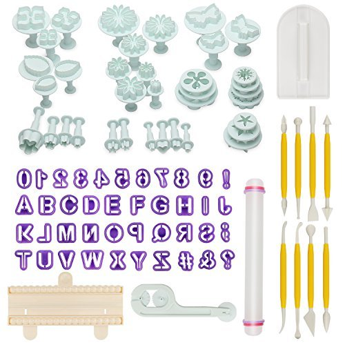 Geohee Aoafun 88pcs Fondant Sugarcraft Cake Decorating Plunger Cutters Icing Modelling Tool Kit Set with Rolling Pin, Smoother, Embosser Mold Mould Tools