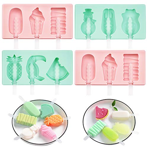 Silicone Popsicle Molds, 4 Pack Ice Pop Molds for Kids, Reusable Easy Release Cake Popsicle Mold, DIY Homemade Ice Pop Maker with Lid and Sticks, (12 Cavities, Pink and Green) Ice Cream Popsicle Mold