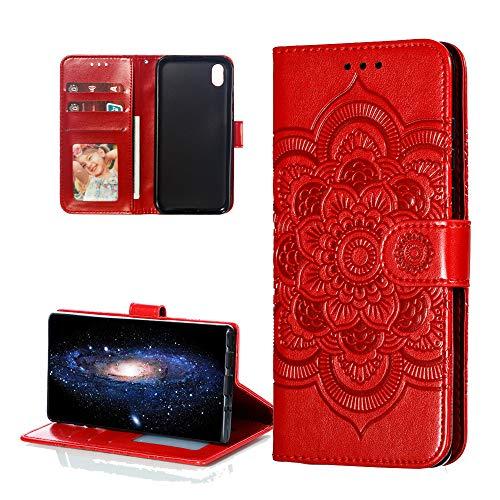 COTDINFOR Etui für Huawei Y5 2019 Hülle PU Leder Cover Schutzhülle Magnet Tasche Flip Handytasche im Bookstyle Stand Kartenfächer Lederhülle für Huawei Honor 8S / Y5 2019 Red Mandala LD.
