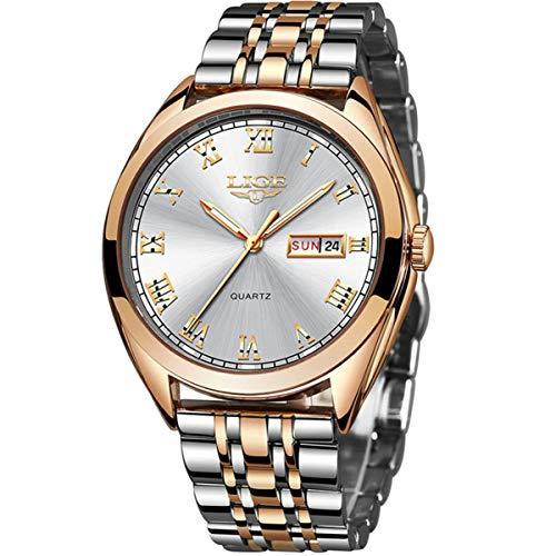 LIGE Uhr für Männer Mode Militärisch Sport Quarzuhr Edelstahl Wasserdicht 30 Meter Kalenderdatum Deluxe Business Watch …