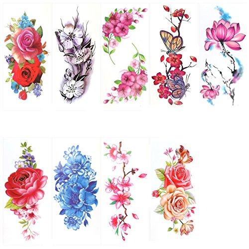 ROSENICE Tatuajes temporales 9 hermosas flores cuerpo tatuaje tatuaje tatuaje rosa peonía flor mariposa Lotus cerezo adhesivo para mujeres