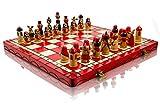 Lovely MATRYOSHKA - Juego de ajedrez decorativo de madera pintado a mano de 42 cm (ROJO)