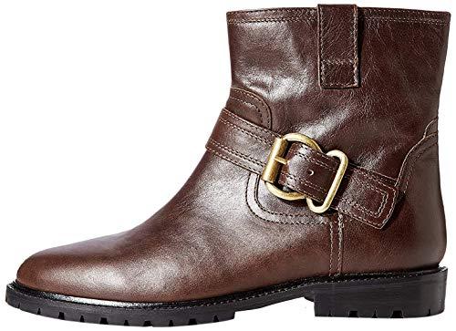 Marchio Amazon - find. Pull On Leather Buckle Biker Stivaletti, Marrone Dk. Brown, 39 EU