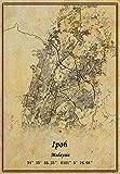 Malaysia-Ipoh-Karte, Wandkunst, Poster, Leinwanddruck,