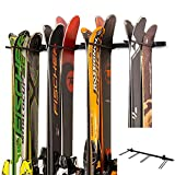 TPSHKE Ski and Snowboard Wall Storage Rack, Holds 8 Pairs, 4 Free Elastic Bands, Steel Home and Garage Storage Hanger