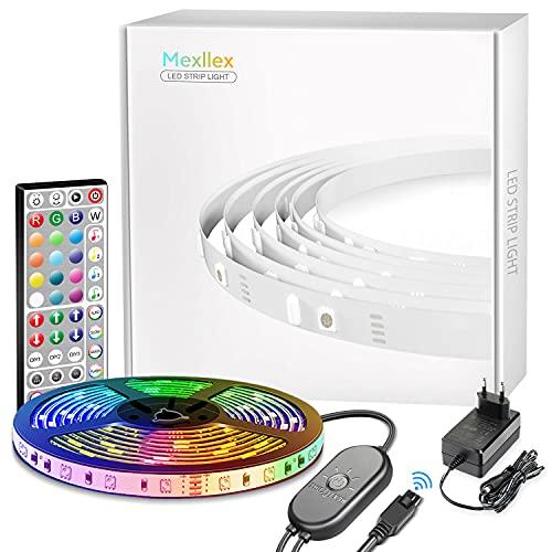 Mexllex LED Strip 6M,Rgb Led Lichterkette Streifen Licht mit Fernbedienung led Beleuchtung Leiste Band für Schrankdeko Party Zuhause Schlafzimmer Farbwechsel [Energieklasse A+]