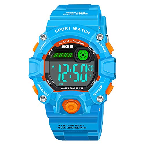 Dreamingbox Birthday Presents for 5-12 Year Old Boys, Outdoor Sport Digital Wrist Watches Best Popular Toys for 5-12 Year Old Boys Girls Teen SkyBlue USN01