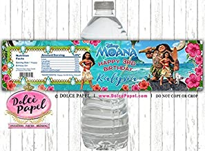 10 Elegant Princess MOANA Movie Beach Birthday Party WATER BOTTLE LABELS Party Favors Any Age