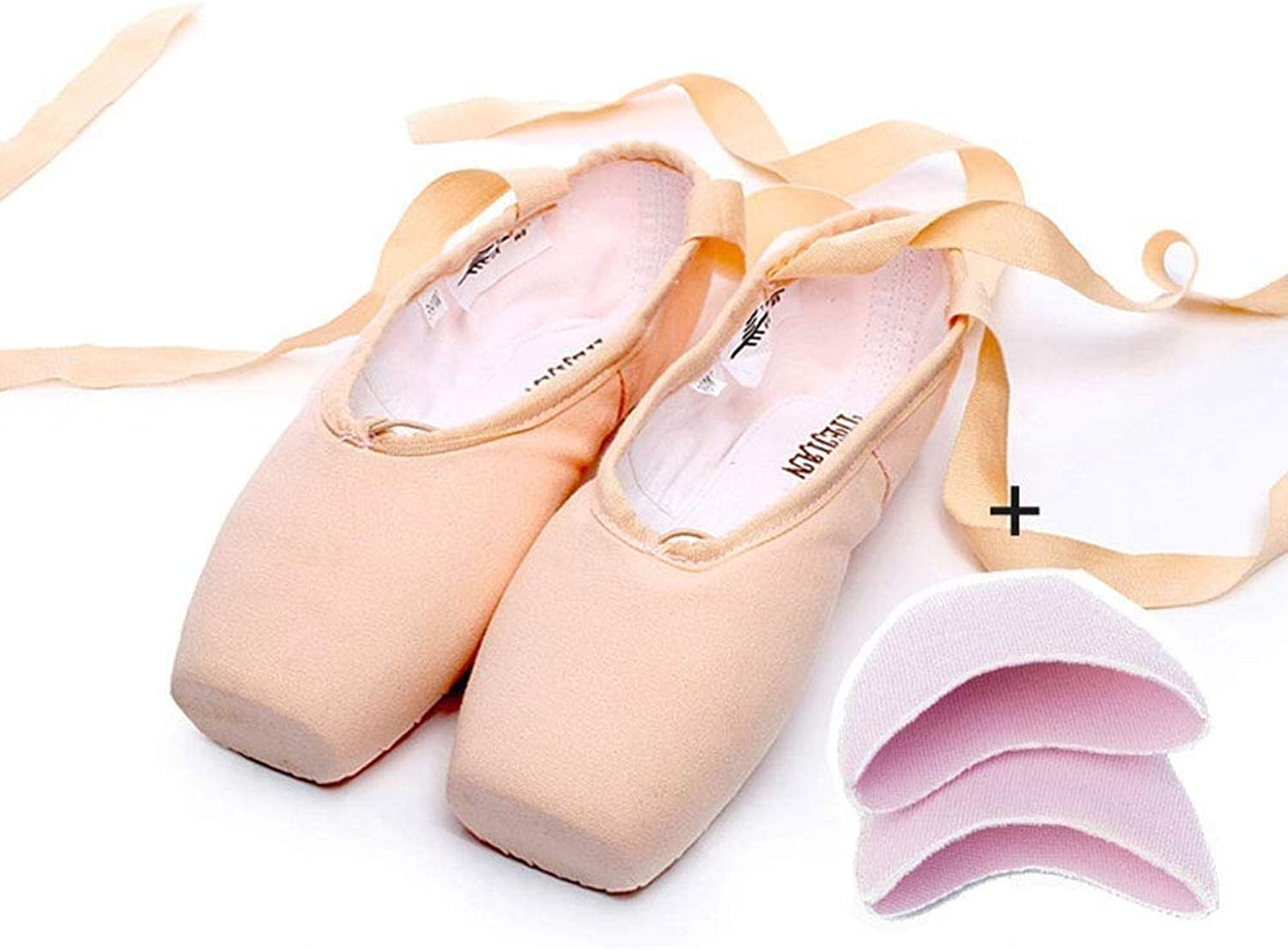 Ruanyi Profession Pink Ballet shoes, Pointe Straps Exercise Satin Canvas Silicone Sponge for Girls Women (color   Canvas+Sponge, Size   37 EU)