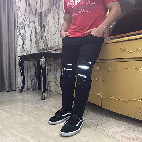 Neue Hip Hop Reflect Light Herren High Street Jeans Mode Casual Slim Fit Hochwertige Röhrenjeans Aus Elastischem Denim XL