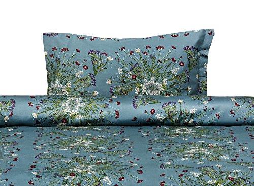Dreamon Hotel Premium Quality Cotton Sateen Duvet Cover Set (Double - Crown of Flower Green)