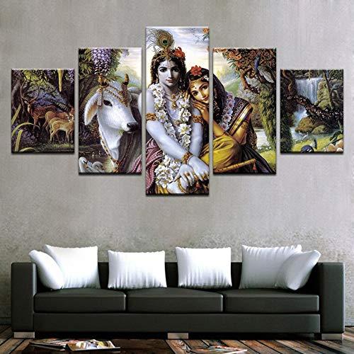 Lona HD Imprime La Sala Fotos 5 Piezas India Mito Krishna Vishnu Pintura Pinturas Frame Animal Arte Cartel De La Pared Decoración No Hay (Size (Inch) : 40X60 40X80 40X100 CM)