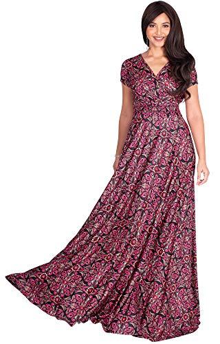 KOH KOH Womens Long Flowy Modest V-Neck Short Cap Sleeve Casual Floor Length Bohemian Boho Damask Print Summer Sundress A-line Maternity Tall Maxi Dress Gown, Pink & Black L 12-14