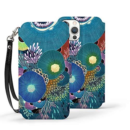 Ip12pro Max-6.7 - Funda de piel con tapa para teléfono móvil, a prueba de golpes, color azul coral medusas océano protector con ranura para tarjeta