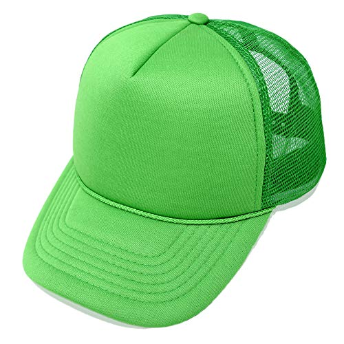 DALIX Plain Blank Trucker Hat Mesh Cap in Kelly Green