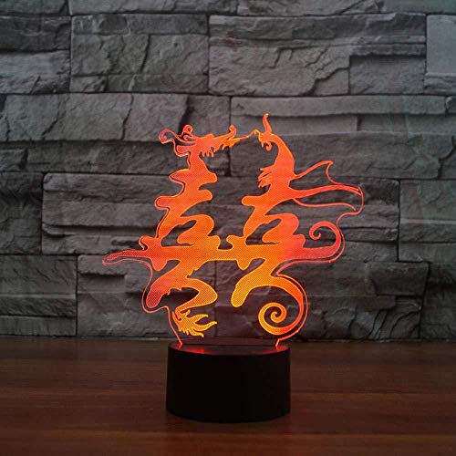 Nuovo Night Lights 3D USB Dragon and Phoenix Double Happiness NightLight LED Colorido Visual Lámpara de mesa USB Chinese Marry Home Decor Gift