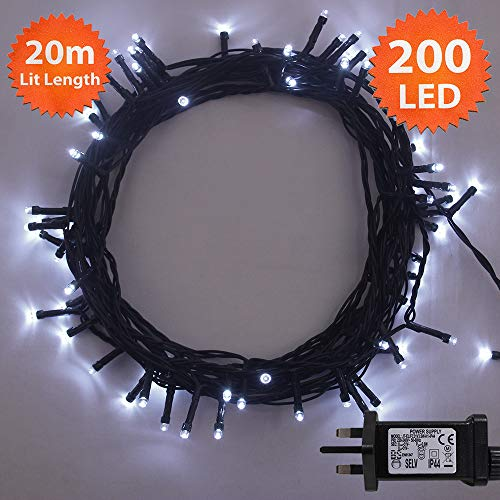 ANSIO Christmas Lights 200 LED 20 m White...