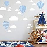 Heißluftballon & Wolken Aufkleber Wandtattoo Himmel | Wandbild 6x DIN A4 Bögen | Sticker Kinder Kinderzimmer Deko Ballons (Babyblau)